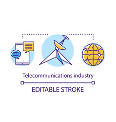 Telecommunications industry concept icon global vector
