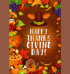 Thanksgiving autumn harvest greeting card vector