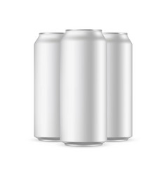 three aluminium cans mockups isolated vector image