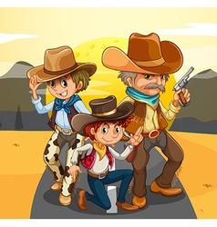 Three cowboys at road vector