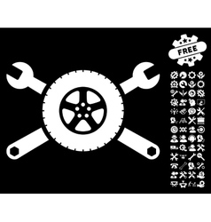 Tire Service Wrenches Icon With Tools Bonus vector image