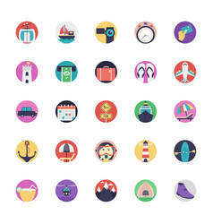 Travel and tourism flat icons vector