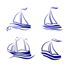 travel by sea or ocean a set of icons vector image