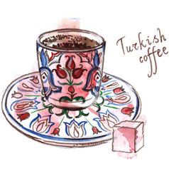 Turkish coffee with rahat-lokum vector