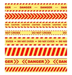 Warning danger and caution tapes or ribbons vector image