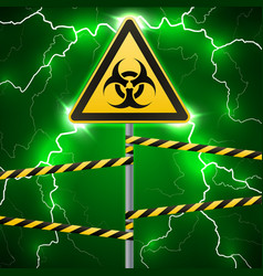 Warning sign biological hazard fenced danger vector