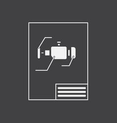White icon on black background motor circuit vector