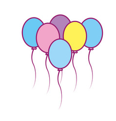 Balloons party to happy birthday decoration vector