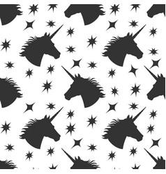 black unicorn silhouette with stars seamless vector image