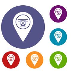 cash terminal pointer icons set vector image