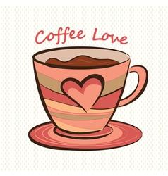 Coffee mug with heart shape vector image