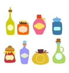 Doodle jars and bottles set vector image