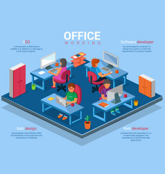 flat 3d isometric business office concept vector image