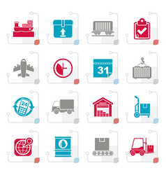 stylized logistic and shipping icons vector image vector image