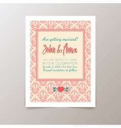 Wedding invitation card with geometric vintage vector image vector image