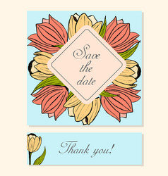 set of cards with tulip floral motifs vector image