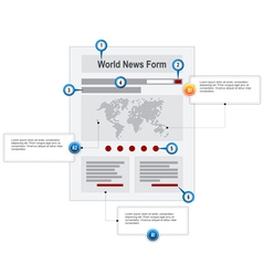 World News Web Page Wireframe Structure Prototype vector image