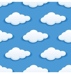 Seamless background with fluffy clouds vector image vector image