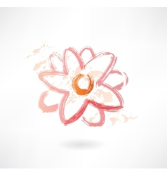 water lily grunge icon vector image