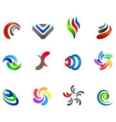 12 colorful symbols set 5 vector image