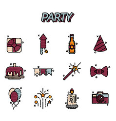 Party flat icons set vector