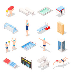 sport swimming pool isometric icons vector image vector image