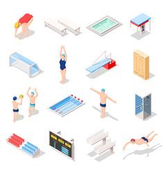 Sport swimming pool isometric icons vector
