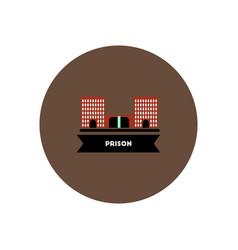 stylish icon in color circle building prison vector image