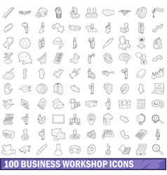 100 business workshop icons set outline style vector