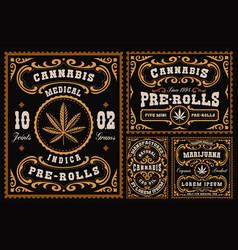 A bundle vintage labels for cannabis theme vector