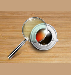 a cup of coffeetea with a magnifier vector image