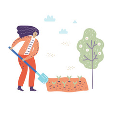 A woman digs a shovel ground in a garden in a red vector