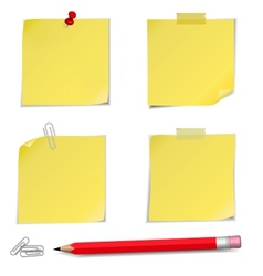 Adhesive Notes with pin and pencil vector image