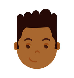 african boy head emoji personage icon with facial vector image