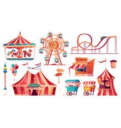 amusement park icons set circus carousel food cart vector image