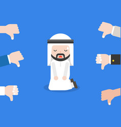 arab businessman or politician knee on floor for vector image