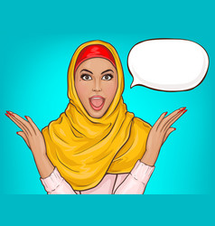Arabic woman in hijab shocked vector