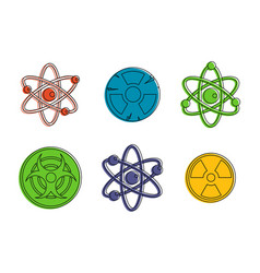 atomic icon set color outline style vector image