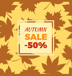 autumn sale -50 off in frame leaves foliage icons vector image
