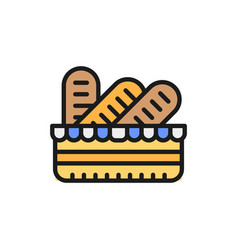 Baguettes in a basket french bread flat color vector