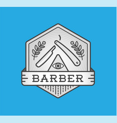 barber shop logo design vintage label badge vector image