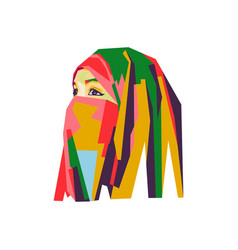 beautiful hijab girl vector image