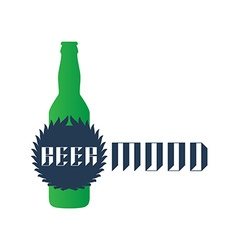 Beer mood - t-shirt print or label with green vector image