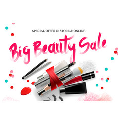 Big beauty sale cosmetics banner for shopping vector