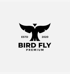 Bird wing fly black silhouette front view logo vector