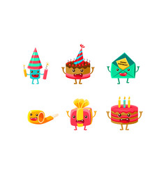 birthday party objects characters set happy funny vector image