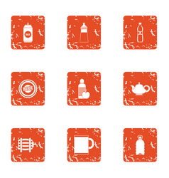 Bottle foodstuff icons set grunge style vector
