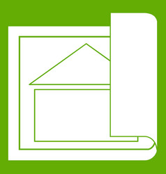 building plan icon green vector image