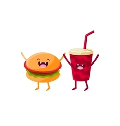 Burger and soda cartoon friends vector