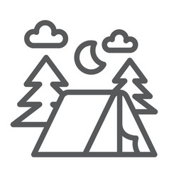 Camping line icon nature and hiking camp sign vector
